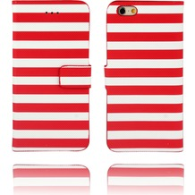 Twins Kunstleder Flip Case für iPhone 6,Stripes,rot,weiß
