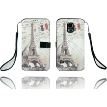Twins Kunstleder Flip Case für Galaxy S5,Paris,beige