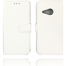 Twins Kunstleder Flip Case für HTC M8 mini,weiß