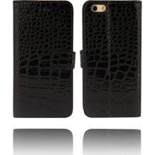 Twins Kunstleder Flip Case für iPhone 6 Plus, Kroko Optik,schwarz