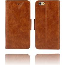 Twins Kunstleder Flip Case für iPhone 6 Plus,braun