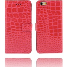 Twins Kunstleder Flip Case für iPhone 6,Kroko Optik, pink