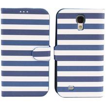 Twins Striped BookFlip für Samsung Galaxy S4, blau-weiß