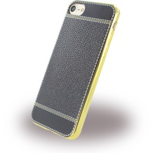 UreParts Kunstleder Cover / Handyhülle - Apple iPhone 7 / 8 - Schwarz/Gold
