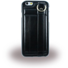 UreParts TPU Cover/ Case/ Schutzhülle mit Leder - Apple iPhone 6, 6s - Schwarz