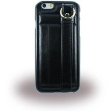 UreParts TPU Cover/ Case/ Schutzhülle mit Leder - Apple iPhone 6 Plus, 6s Plus - Schwarz