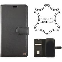 Uunique Protective Echtes Leder Folio Book Case, Apple iPhone XR 6.1, Schwarz