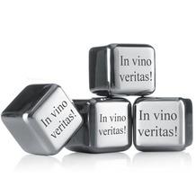 """vacu vin Kühlsteine 4er-Set MIT GRAVUR (z.B. """"In vino veritas"""") wiederverwendbare Edelstahl-Eiswürfel Whiskysteine"""