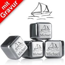 """vacu vin Kühlsteine 4er-Set MIT GRAVUR """"Segelboot + Name"""" wiederverwendbare Edelstahl-Eiswürfel Whiskysteine"""