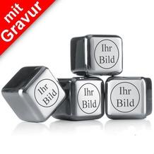 """vacu vin Kühlsteine MIT GRAVUR """"Ihr Bild/Logo"""" 4er-Set wiederverwendbare Edelstahl-Eiswürfel Whiskysteine"""