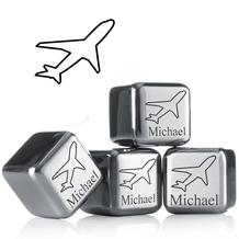 """vacu vin Kühlsteine 4er-Set MIT GRAVUR """" Flugzeug + Name"""" wiederverwendbare Edelstahl-Eiswürfel Whiskysteine"""