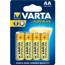 VARTA Batterie Zink-Kohle, Mignon, AA, R06, 1.5V Superlife, Retail Blister (4-Pack)