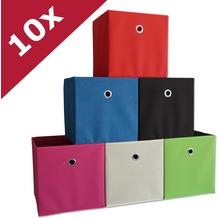 "VCM 10er Set Faltbox Klappbox Sammelbox Stoffbox Regalbox Regalkorb ""Boxas"" Weiß-Natur"