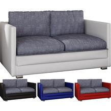 """VCM 2er Schlafsofa Sofabett Couch Sofa mit Schlaffunktion """"Unal"""" Blau / Grau"""