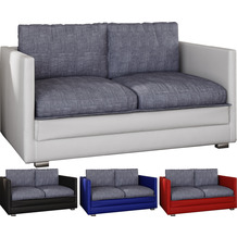 """VCM 2er Schlafsofa Sofabett Couch Sofa mit Schlaffunktion """"Unal"""" Weiß / Grau"""