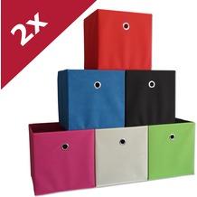"""VCM 2er Set Faltbox Klappbox Sammelbox Stoffbox Regalbox Regalkorb Korb """"Boxas"""" Rot"""