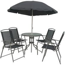 VCM 6-teiliges Gartenmöbel-Set (Tisch, Stühle, Schirm) Anthrazit
