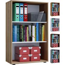 VCM Aktenregal Bücherregal Regal Standregal Büroregal Ordnerregal Schrank Lona 3-fach Sonoma-Eiche