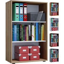 VCM Aktenregal Bücherregal Regal Standregal Büroregal Ordnerregal Schrank Lona 3-fach Weiß