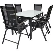 VCM Alu Sitzgruppe 140x80 Mattglas Gartenmöbel Gartengarnitur Tisch Stuhl Essgruppe Gartenset Tisch + 6 Stühle