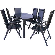 VCM Alu Sitzgruppe 140x80 Schwarzglas Gartenmöbel Gartengarnitur Tisch Stuhl Essgruppe Gartenset Tisch + 6 Stühle