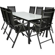 VCM Alu Sitzgruppe 190x80 Mattglas Gartenmöbel Gartengarnitur Tisch Stuhl Essgruppe Gartenset Tisch + 8 Stühle