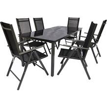 VCM Alu Sitzgruppe 190x80 Schwarzglas Gartenmöbel Gartengarnitur Tisch Stuhl Essgruppe Gartenset Tisch + 6 Stühle