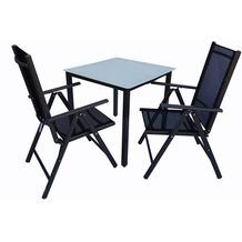 VCM Alu Sitzgruppe 80x80 Mattglas Gartenmöbel Gartengarnitur Tisch Stuhl Essgruppe Gartenset Tisch + 2 Stühle