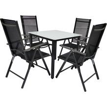 VCM Alu Sitzgruppe 80x80 Mattglas Gartenmöbel Gartengarnitur Tisch Stuhl Essgruppe Gartenset Tisch + 4 Stühle