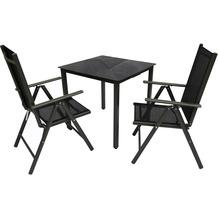 VCM Alu Sitzgruppe 80x80 Schwarzglas Gartenmöbel Gartengarnitur Tisch Stuhl Essgruppe Gartenset Tisch + 2 Stühle
