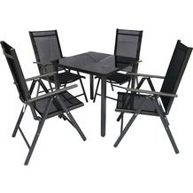 VCM Alu Sitzgruppe 80x80 Schwarzglas Gartenmöbel Gartengarnitur Tisch Stuhl Essgruppe Gartenset Tisch + 4 Stühle