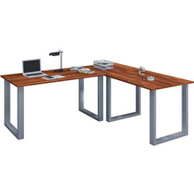 """VCM Eckschreibtisch Schreibtisch Büromöbel Computertisch Winkeltisch Tisch Büro """"Lona"""" 130 x 160 x 50 cm  Kern-Nussbaum"""