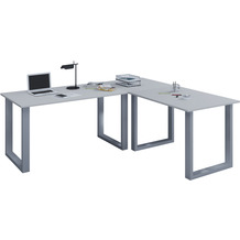 """VCM Eckschreibtisch Schreibtisch Büromöbel Computertisch Winkeltisch Tisch Büro """"Lona"""" 160 x 190 x 80 cm  Grau"""