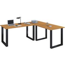 VCM Eckschreibtisch, Schreibtisch, Büromöbel, Computertisch, Winkeltisch, Tisch, Büro, Lona 130x130x50  Buche