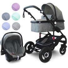 """VCM Kombi - Kinderwagen, Babywagen 2in1 oder 3in1 """"VCK Kidax"""" 3in1 - mit Babyschale  Dunkelgrau"""