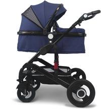 VCM Premium Set 2in1 Kombi - Kinderwagen, gefederter Babywagen Alu Dunkelblau