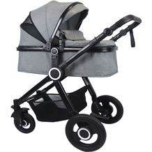 VCM Premium Set 2in1 Kombi - Kinderwagen, gefederter Babywagen Alu Pilosa Grau