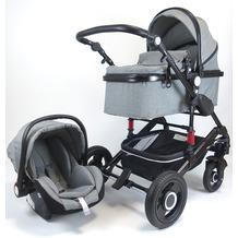 VCM Premium Set 3in1 Kombi - Kinderwagen, gefederter Babywagen Wanne Autositz Alu Anthrazit