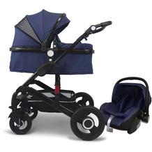 VCM Premium Set 3in1 Kombi - Kinderwagen, gefederter Babywagen Wanne Autositz Alu Dunkelblau