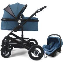VCM Premium Set 3in1 Kombi - Kinderwagen, gefederter Babywagen Wanne Autositz Alu Hellblau