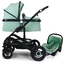 VCM Premium Set 3in1 Kombi - Kinderwagen, gefederter Babywagen Wanne Autositz Alu Mint