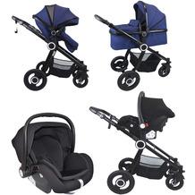 VCM Premium Set 3in1 Kombi - Kinderwagen, gefederter Babywagen Wanne Autositz Alu Pilosa Dunkelblau