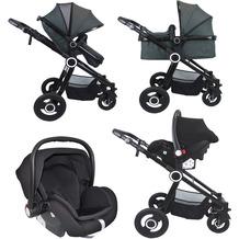VCM Premium Set 3in1 Kombi - Kinderwagen, gefederter Babywagen Wanne Autositz Alu Pilosa Dunkelgrau