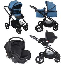 VCM Premium Set 3in1 Kombi - Kinderwagen, gefederter Babywagen Wanne Autositz Alu Pilosa Hellblau