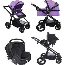 VCM Premium Set 3in1 Kombi - Kinderwagen, gefederter Babywagen Wanne Autositz Alu Pilosa Lila
