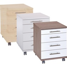 VCM Rollcontainer Bürocontainer Schubladenschrank Büroschrank mit Schubladen Braso 218 Eiche-Trüffel