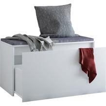 VCM Sitzbank Sitztruhe Aufbewahrungsbox Schublade Truhenbank Auflagenbox Truhe Simto Weiß