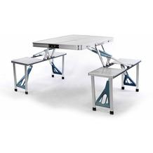 VCM Sitzgruppe Camping Alu Tisch mit 4 Hocker Stuhl Party klappbar Weiß