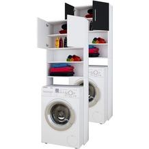 VCM Waschmaschinenschrank Badschrank Hochschrank Badregal Überbau Schrank Jutas 190 x 64 Badmöbel Regal Weiß / Schwarz