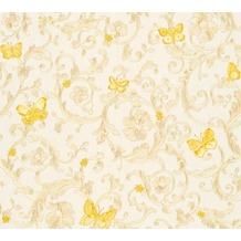 Versace florale Mustertapete Butterfly Barocco Vliestapete creme gelb metallic 343251